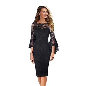 Dresses & Skirts - Plus Size Cocktail Dress Lace Bell Sleeve Dress